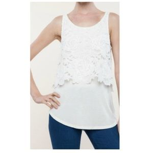 Ella moss crescent white floral lace tank top